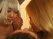 Naughty Japanese cosplay threesome on cam