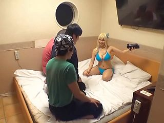 Busty blonde is a hot Japanese babe getting a hard pounding