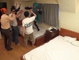 Horny Asian girl arranges a cosplay sex action gets banged by a group of guys