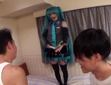 Horny Asian girl arranges a cosplay sex action gets banged by a group of guys picture 12