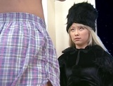 Blonde Asian milf in a fancy costume gives a perfect cock blow picture 14