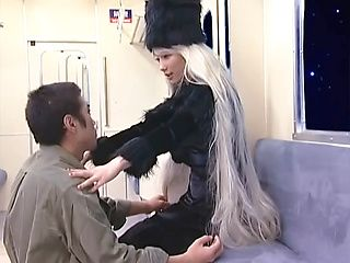 Blonde Asian milf in a fancy costume gives a perfect cock blow