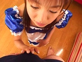 Nice Asian babe with a big ass, Mai Hagiwara gives head during cosplay