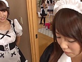 Impressive gangbang show with horny Japanese maids picture 4