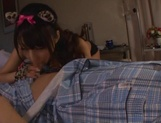 Adorable nurse in sexy stockings Shunka Ayami gives a blowjob picture 11