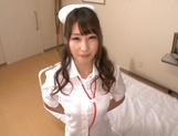 Adorable nurse in sexy stockings Shunka Ayami gives a blowjob picture 1