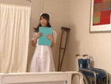 Adorable nurse in sexy stockings Shunka Ayami gives a blowjob picture 3