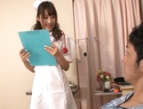 Adorable nurse in sexy stockings Shunka Ayami gives a blowjob picture 4
