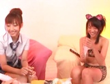 Hot Japanese teen gals grab sex toys to satisfy their pussies picture 12