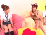 Hot Japanese teen gals grab sex toys to satisfy their pussies