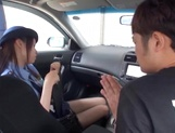 Cosplay loving teen Ran Usagi in police uniform sucks cock in car picture 11