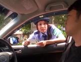 Cosplay loving teen Ran Usagi in police uniform sucks cock in car