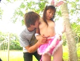 Asian babe in bunny costume, Mai Hagiwara sucks and fucks outdoors picture 12