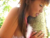 Asian babe in bunny costume, Mai Hagiwara sucks and fucks outdoors