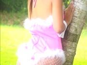 Asian babe in bunny costume, Mai Hagiwara sucks and fucks outdoors