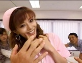 Lustful Asian nurse giving sensual head picture 14