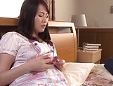 Mature Asian milf dildoing her juicy muff picture 12