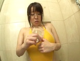 Busty JP teen in glasses, Yui Satonaka having twat tickling shower picture 14