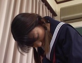 Horny schoolgirl, Sayaka Tsutsumi rubs her Asian pussy and gets banged picture 12