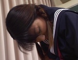 Horny schoolgirl, Sayaka Tsutsumi rubs her Asian pussy and gets banged picture 14