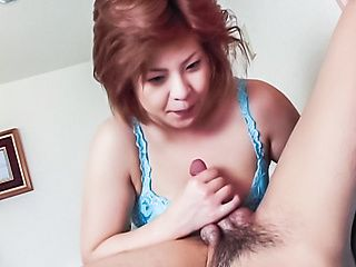 Harsh blowjob by busty Asian mature, Megumi Aso