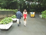 Naughty Asian babe, Minami Aikawa, in outdoor oral sex