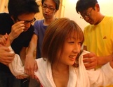 Hot chick in glasses Mion Ayase enjoys hardcore group sex picture 4