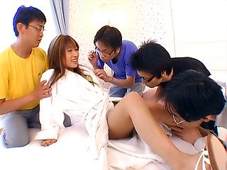 Mion Ayase  Asian babe in glasses gets double blowjob and a facial
