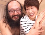 Pretty short-haired milf Nanami Kawakami teased by a group of guys picture 12