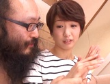 Pretty short-haired milf Nanami Kawakami teased by a group of guys picture 13