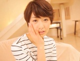 Pretty short-haired milf Nanami Kawakami teased by a group of guys