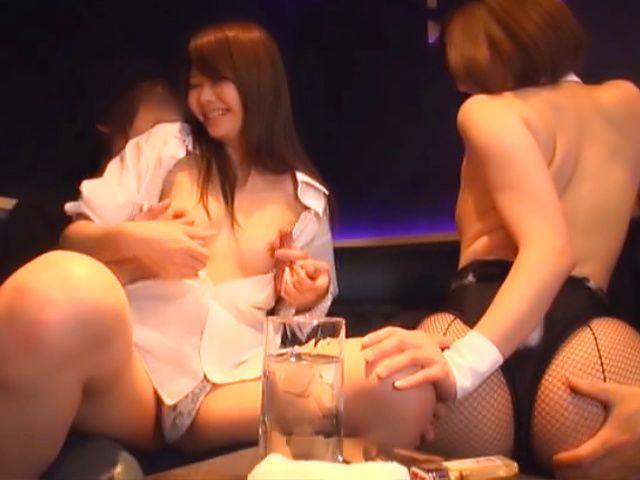 Hot Asian bimbos enjoying a worthy group sex
