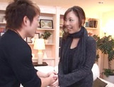 Sexy milf Maki Mizusawa gets her horny pussy explored by a group pf guys picture 12