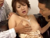 Hot and sexy Japanese milf in a sexy dress, Aya teased by three guys