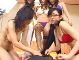 Mind blowing group sex with four Asian hotties