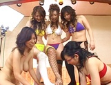 Mind blowing group sex with four Asian hotties picture 11
