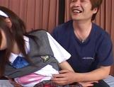 Nice Asian schoolgirl with pretty face Hikaru Hozuki in a wild gang