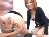 Risa Yuno and her two girlfriends in a group sex action picture 15