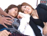 Risa Yuno and her two girlfriends in a group sex action
