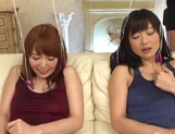 Flaming toy porn scenes with two horny Asian wives