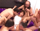 Sweet Japanese chick with small tits Nanami Kawakami in a gangbang action
