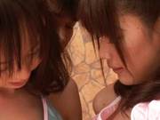 Petite horny teen sweeties Junko Hayama and Kirara Kurokawa in hot bang