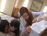 A group of kinky Tokyo schoolgirls  cock of a handsome guy picture 8