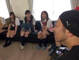 Horny schoolgirl Ryouka Asakura involved into a crazy group sex party picture 11