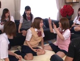 Horny schoolgirl Ryouka Asakura involved into a crazy group sex party picture 13