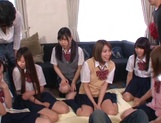 Horny schoolgirl Ryouka Asakura involved into a crazy group sex party picture 14