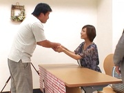 Pretty Japanese milf in transparent lingerie Akari Asahina jerks off cock