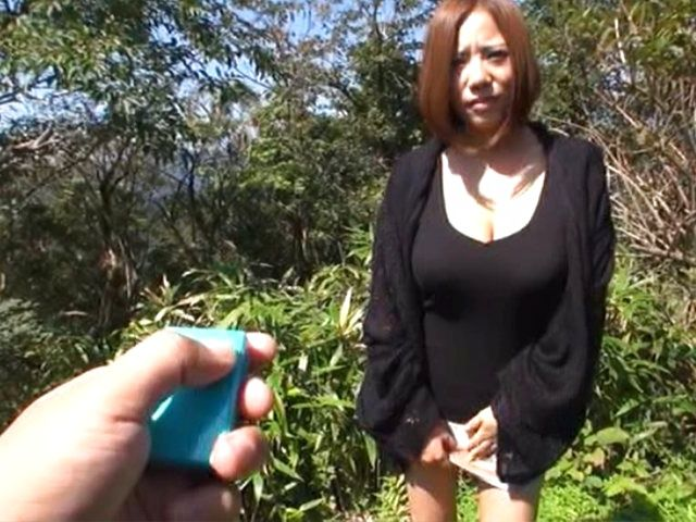 Charming milf with big breasts is teased POV outdoors