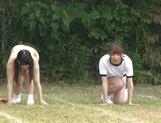 Juicy schoolgirls enjoy a kinky exhibitionism lesson picture 20