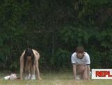 Juicy schoolgirls enjoy a kinky exhibitionism lesson picture 21